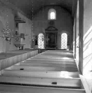 Halltorps kyrka interiör 1950