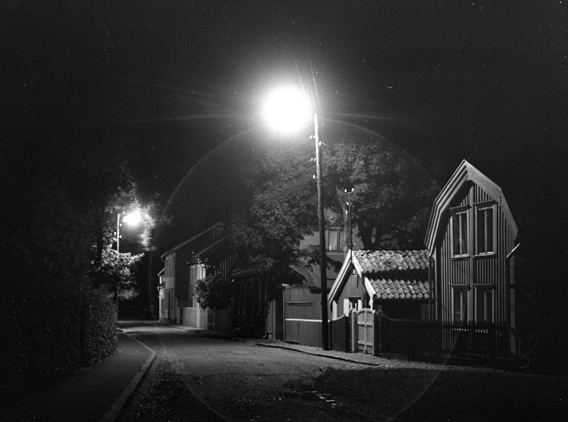 Gamla stan, Västerlånggatan, kv Asken, nattbild 1935