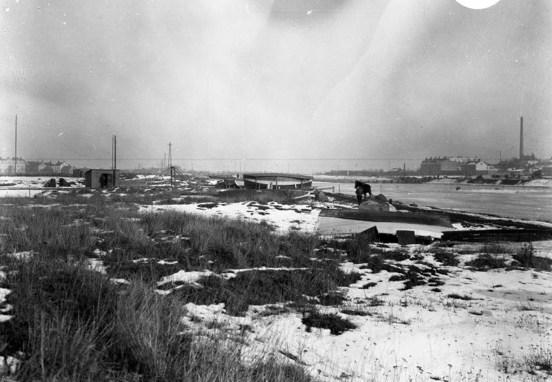 Fredriksskans, kanalens torrläggning omkr 1920