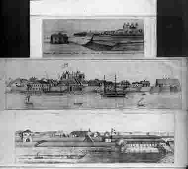 Calmar stad, syd-västra sidan tagen från en väderqvarn på Malmen. Tre teckningar av J.O. år 1840
