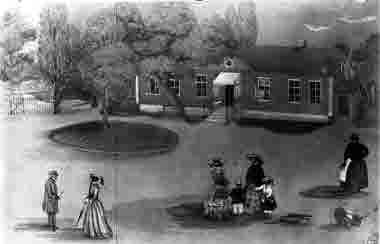 Ljungby biskopsgård. Teckning av Ulla Toll 1856. Kopia av Blomberg 1938