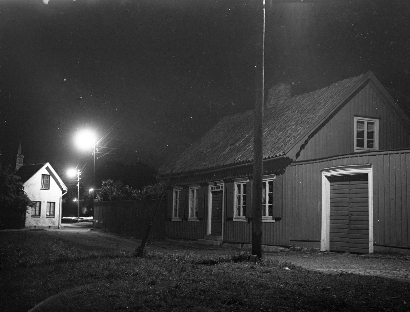 Gamla stan, Stora Dammgatan, Krusenstiernska gården, nattbild 1935